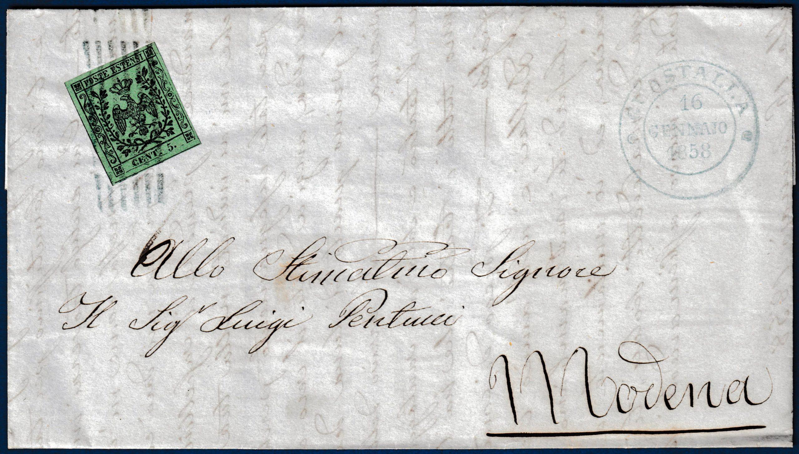 1858 - Modena - Lettera da Gustalla