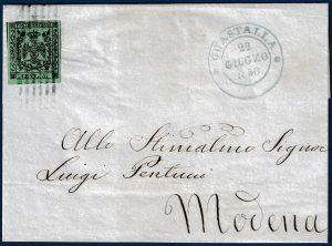 1858 - Modena - Lettera resa franca con cent.5 (n.7)