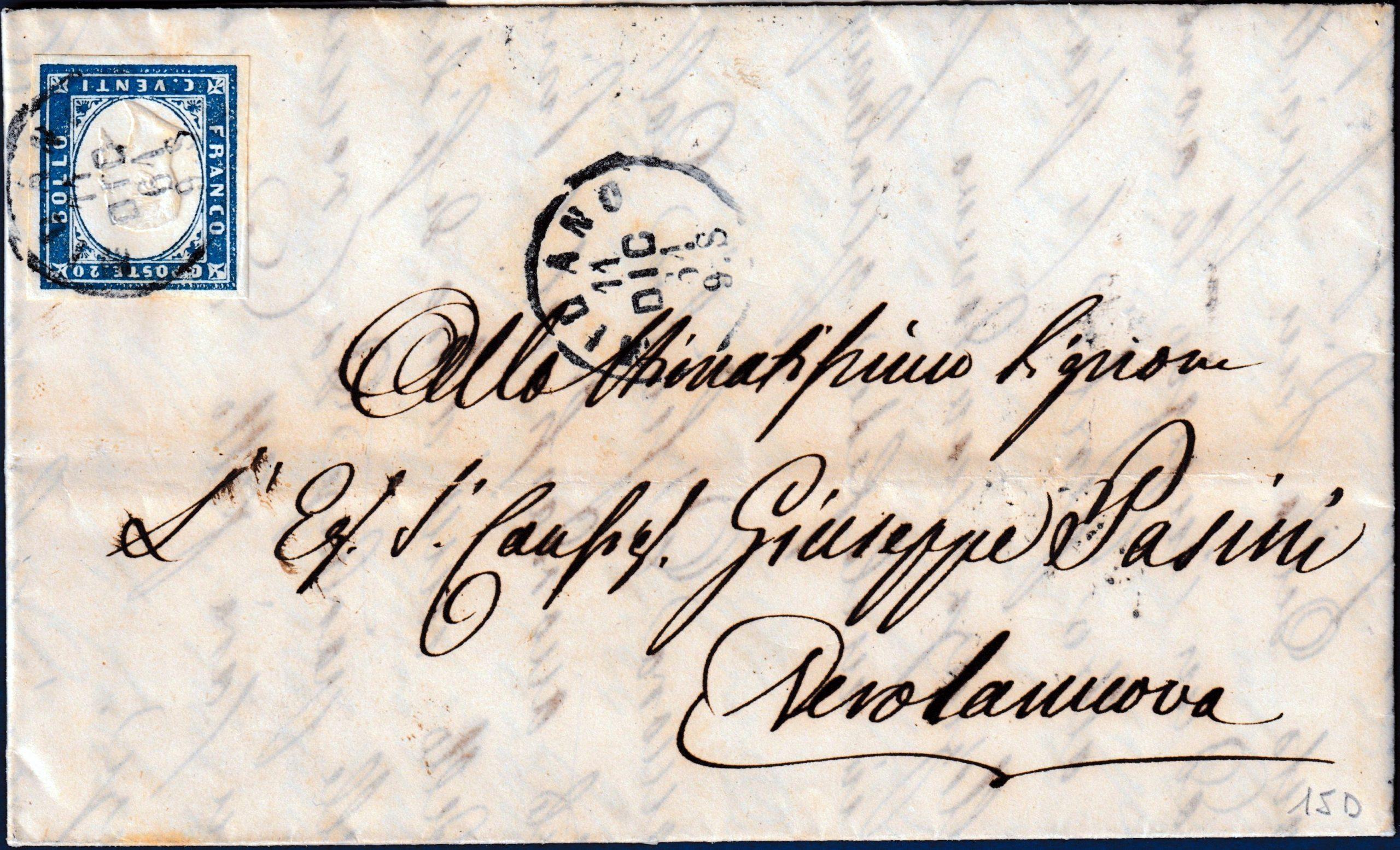 1861 - Lettera resa franca con cent.20 n.15D
