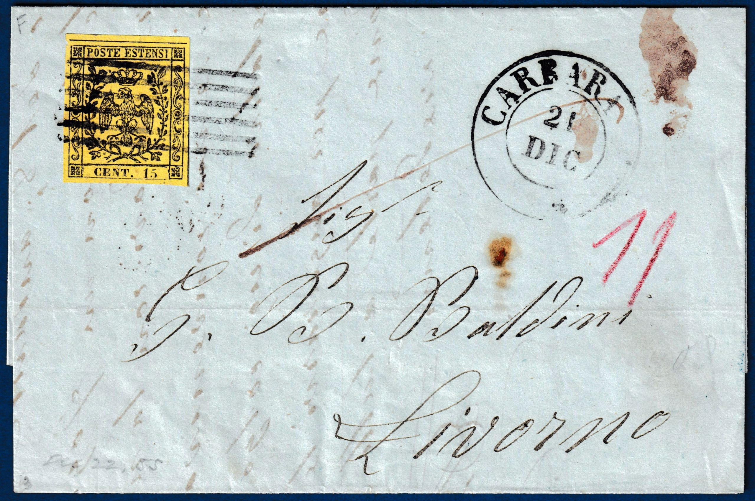 1858 - Modena - Lettera con cent.15 (n.3)