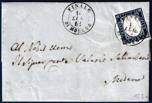 1862 - Letera resa franca con cent.20 n.15Ea