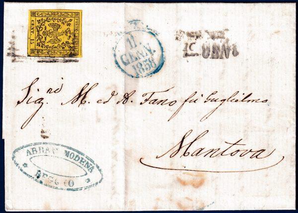 1858 - Lettera da Reggio resa franca con cent.15 giallo n.3