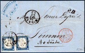 1861 - Lettera per la Francia con 2 val. da cent.20 n.15Db