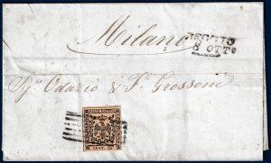 1853 - Modena - Lettera con cent.25 (n.4)
