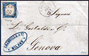1862 - Lettera resa franca con 20 cent. n.15D