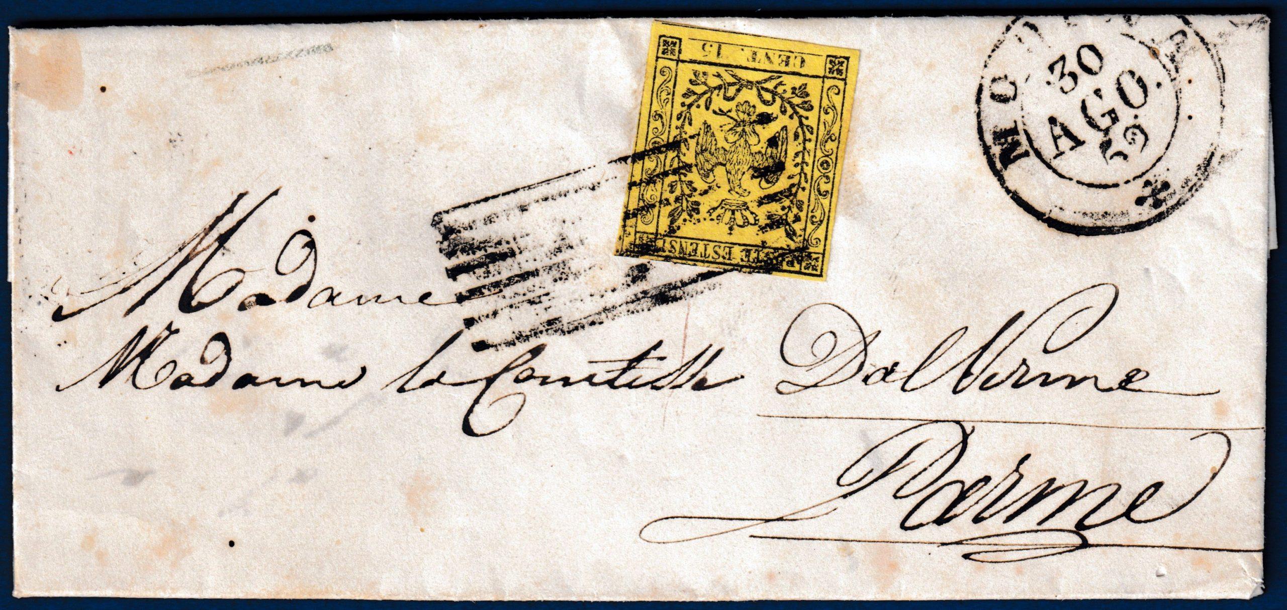 1852 - Modena - Lettera con cent.15 (n.3)