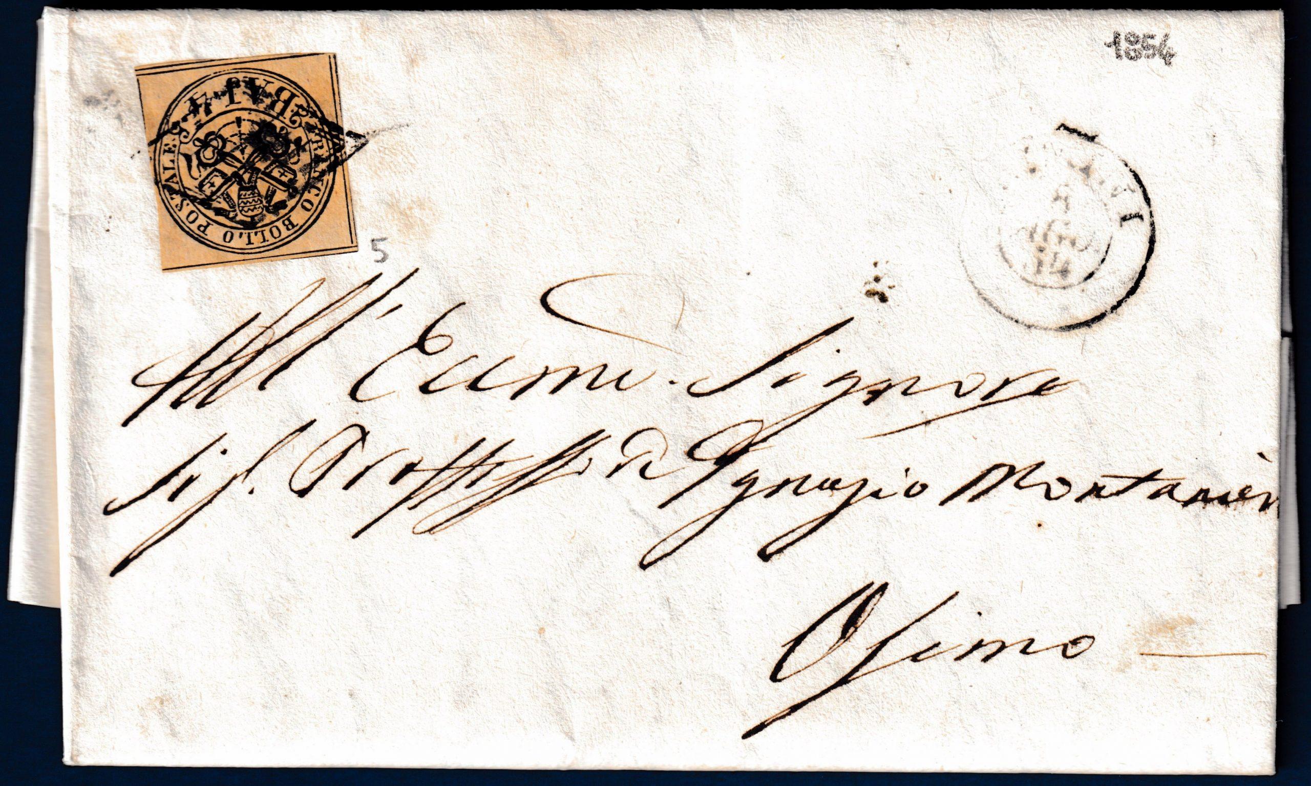 1854 - Lettera Stato Pontificio