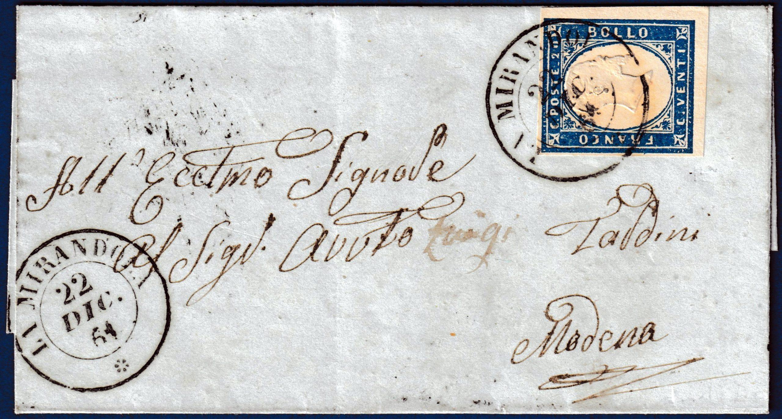 1864 - Lettera resa franca con cent.20 n.15E