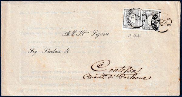 1863 - Circolare a stampa - coppia cent.1 n.19