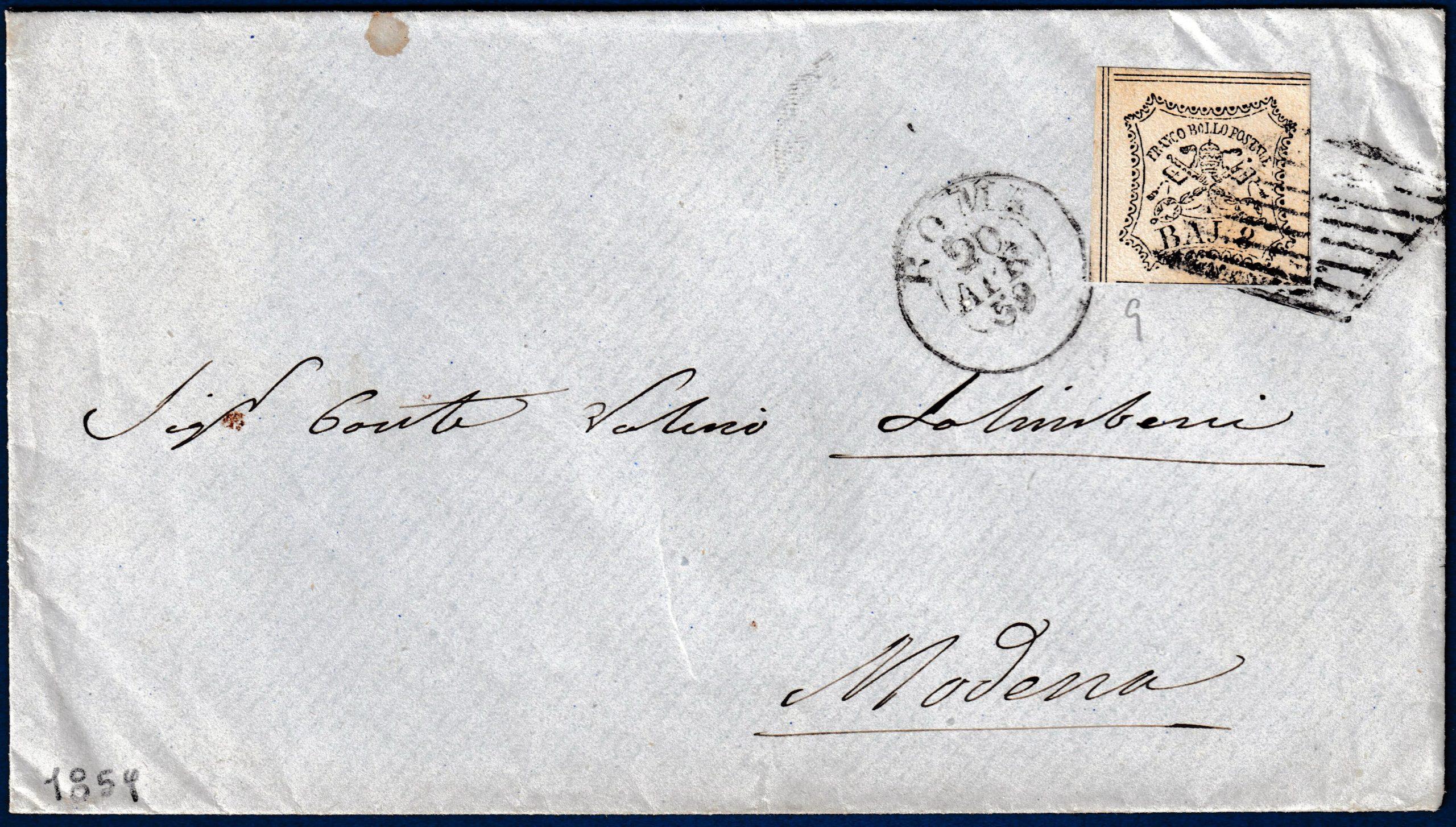 1859 - Lettera Stato Pontificio