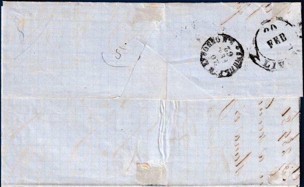 1862 - Lettera da Firenze - 10 cent. bistro oliva