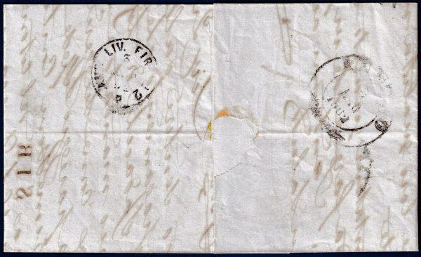 1862 - Lettera da Livorno - 10 cent. bistro oliva
