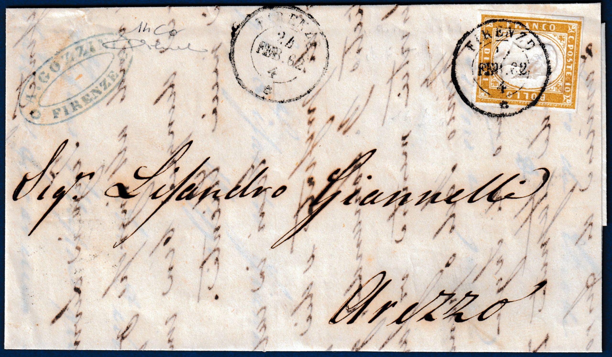 1862 - Lettera da Firenze - 10 cent. bruno bistro