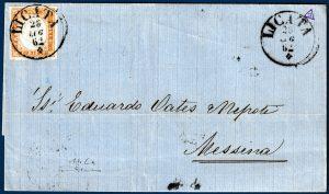 1862 - Sardegna - Lettera da Licata -10 cent. 14Cn