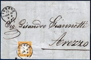 1862 - Lettera da Livorno con cent.10 n.14Co