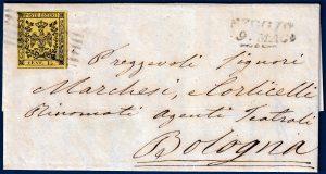 1854 - lettera da Reggio con 15 cent. giallo n.3