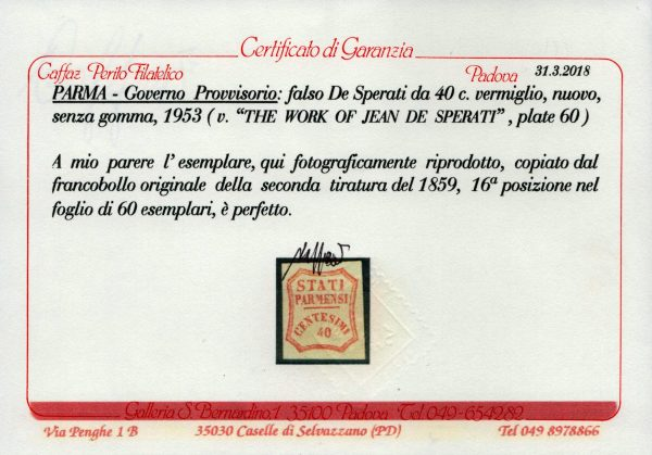 Parma cent.40 Falso De Sperati