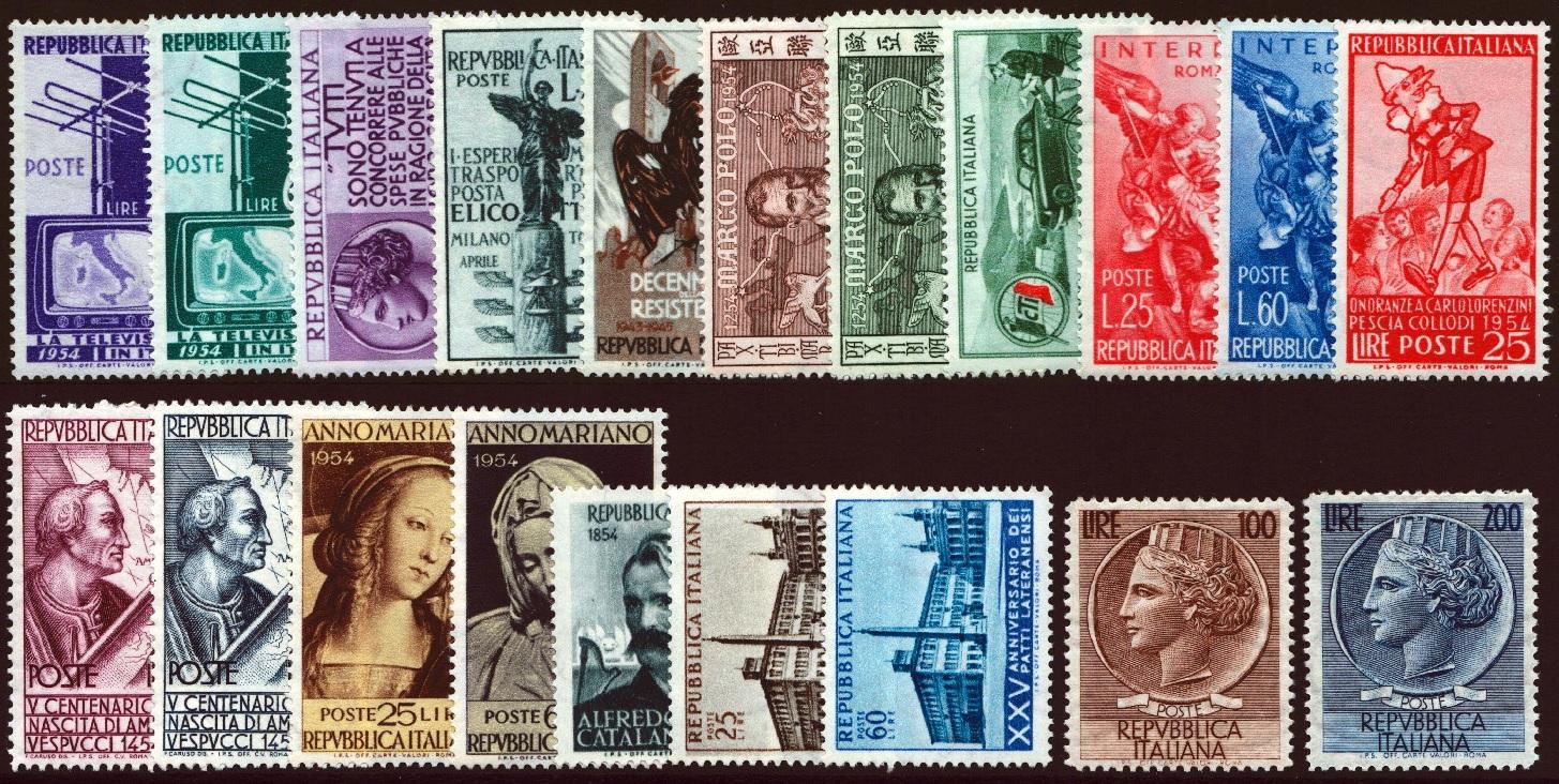 1954 annata completa PO nuova MNH