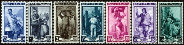 Italia al lavoro filigrana stelle MNH