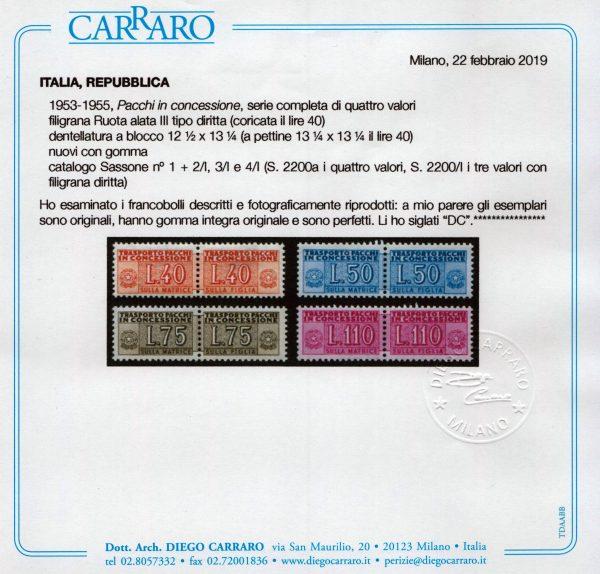 1953 Pacchi Concessione cert. Carraro