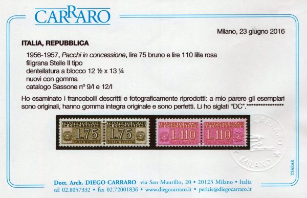 1955/81 Pacchi Concessione Stelle MNH