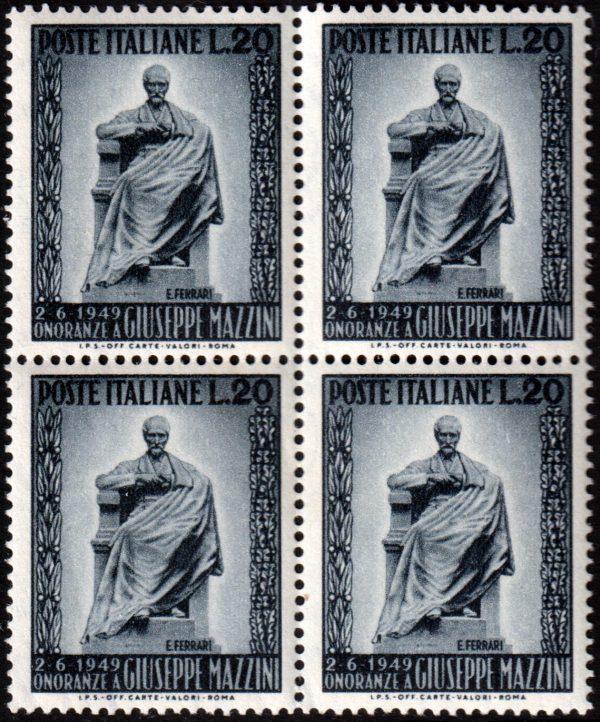 1949 Mazzini quartina MNH