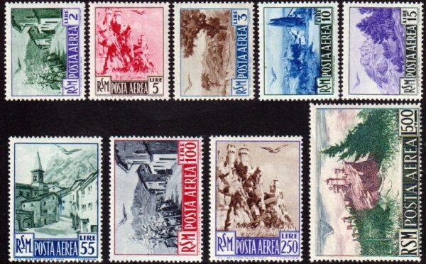 1950 - Posta Aerea Vedute MNH A83/91